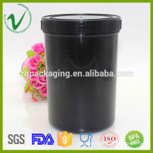 HDPE storage container empty round 1L plastic powder chemical bottle with lid