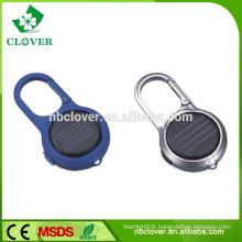 Plastic 1 led mini solar power flashing lcd keychain with hook