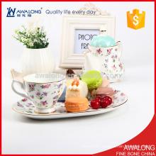 European style ceramic coffee tea set with spoon