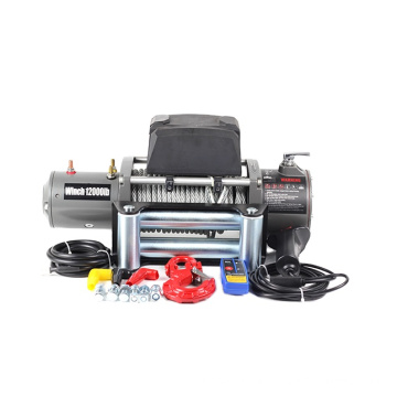Grey color 12V 12000lbs steel cable electric winches