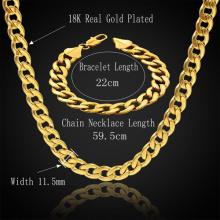 Bracelet et collier élégant de chaîne lien or plaqué inox 316 L Inox Set définit de bijoux hommes