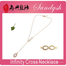 Infinity Necklace Golden Cross Colar De Jóias Infinito Colares De Símbolo