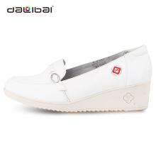 Couro branco enfermeira por atacado calça moda calcanhar enfermeira médica sapatos