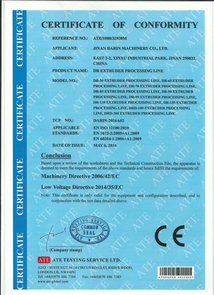 macaroni extruder certificate