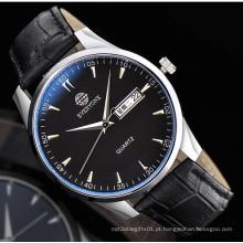 Relógio de quartzo analógico impermeável com data dupla