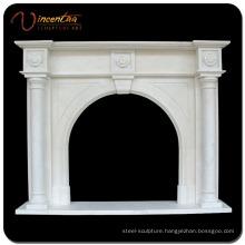 Custom Natural Stone Marble Column Fireplace / Fireplace Mantel
