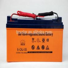Хорошее качество 12V 55 Ач аккумуляторная батарея Солнечная