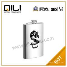 6oz silk screen print dragon logo QILI stainless steel mini hip flask