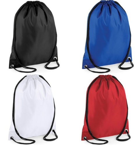 Red sport nylon bag with white logo printed