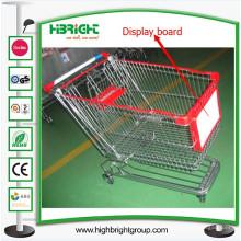 Supermarkt-Einkaufswagen mit Laufkatzen-Anzeigen-Werbungs-Brett