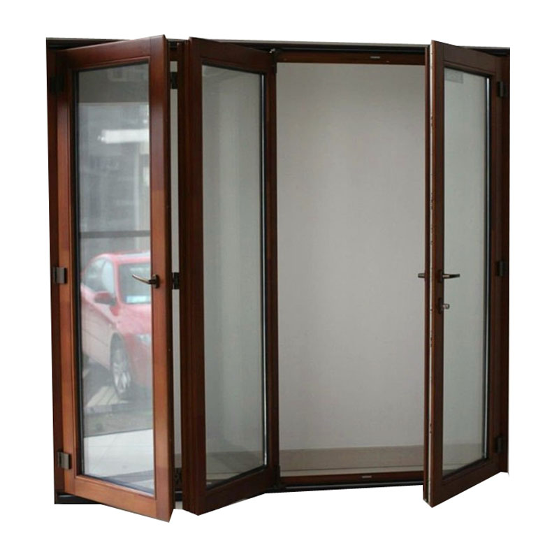 Aluminum frame folding wooden color partition door sliding for house