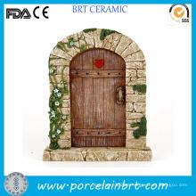 Puerta de hadas de jardín de resina de corazón de flor decorativa