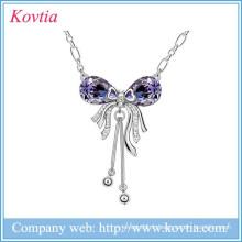 Collier à diamants en améthyste en alliage à papillon