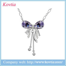 2015 lover series jewelry sliver tassel necklace long chain pendant amethyst butterfly alloy necklace