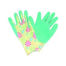13G Polyster Druck Liner Handschuh mit Latex beschichtet, Falten fertig