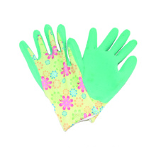 13G Polyster Printing Liner Glove with Latex Coated, Wrinkle Finished