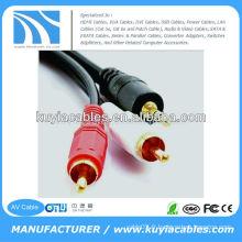 Mâle à mâle 3.5mm à 2rca stéréo AV fil pour ordinateur / VCD / DVD / HDTV / MP3