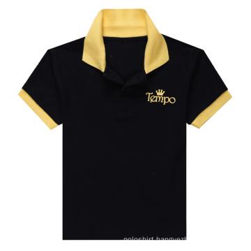 Black Men′s Contrast Color Polo Shirt