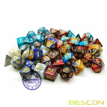 Bescon New Style 6X7 42pcs Polyhedral Dice Set, 6 Unique Shiny Two-Tone Gemini Polyhedral 7-Die Sets Dungeons and Dragons DND