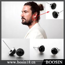 Boucles d'oreilles en cristal noir de haute qualité pour hommes