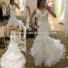 Free shipping top charming white mermaid v neck sleeveless long organza tiered wedding gown bridal dress JWD059