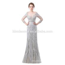 2018 new design custom made grey color floor length long sleeve heavy beaded evening dress for muslin