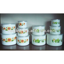 enamel mixing bowl with SS rim and PP lid