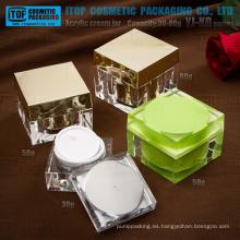 Ángulo recto de la serie YJ-KG importados tarro de acrílico del cuadrado crema de la 80g del material 30g 50g