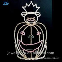 Large Crystal Halloween Bear Pageant Crown For Halloween Pumpkins Crown