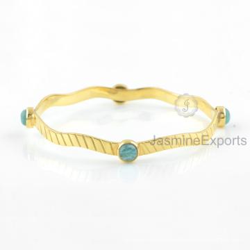 Amazing Green Amazonite Bangle, 18k Gold Gemstone Bangles Jewelry For Women