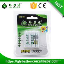 Bateria recarregável direta da fábrica 1.2V 800mah NIMH AAA do tipo de Geilienergy