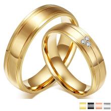 CZ Crystal Gold Anillo de bodas de compromiso Anillo de acero inoxidable de parejas