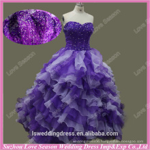 RP006 Real photos custom made white and purple ruffled organza ball gown formal evening prom dresses evening prom dresses