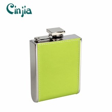 Stainless Steel U Shape Leather Hip Flask for Gift 6oz