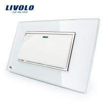 Fabricant Livolo Panneau de verre en cristal blanc de luxe blanc Bouton-poussoir 1 commutateur à 2 voies VL-C3K1S-81