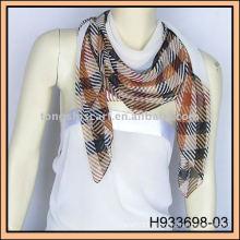large gray check chiffon scarf