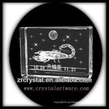 K9 3D Laser Engaved Scorpio dentro de bloque de cristal