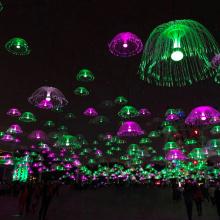 Luz de fibra óptica Jellyfinish para decoração de Natal