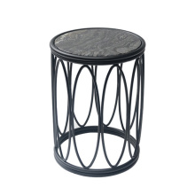 American-style marble black stainless steel side table