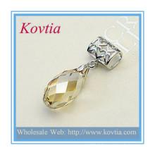 Bijoux fantaisie en gros coupe pendentif en cristal de topaze avec bijoux en argent