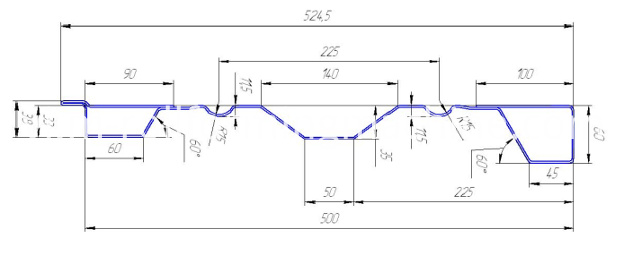 Metal Carriage Board roll forming equipment profile drawing
