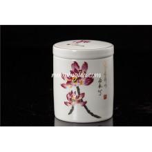 Hand Painted Lotus Ceramic Tea Caddy Straight Shape