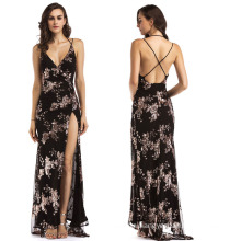 Women's party sexy backless sequins sling evening dress