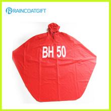 Poncho de pluie à capuchon de PVC rouge adulte de polyester Rpy-062