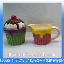 Useful ceramic sugar pot and milk jug with icecream design