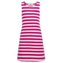 Grace Karin Children Kids Girls Sleeveless Round Neck Deep Pink White Striped Cotton Dress CL010490-1