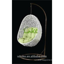 outdoor white rattan hanging egg chair