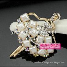 Top venda lindo bailarina linda moderna gem pedra cristal brooch