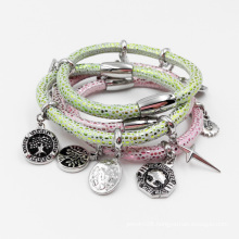 Factory Wholesale Stingray Leather Bracelet with Custom Made Charms