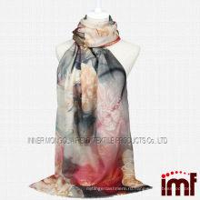Пион Флора Цифровая печать женщин Рождественский подарок Шерстяной шарф шаль